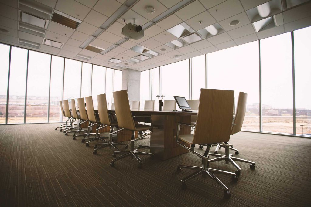 Interior of a meeting room in a hotel that was added to a large well known brand
