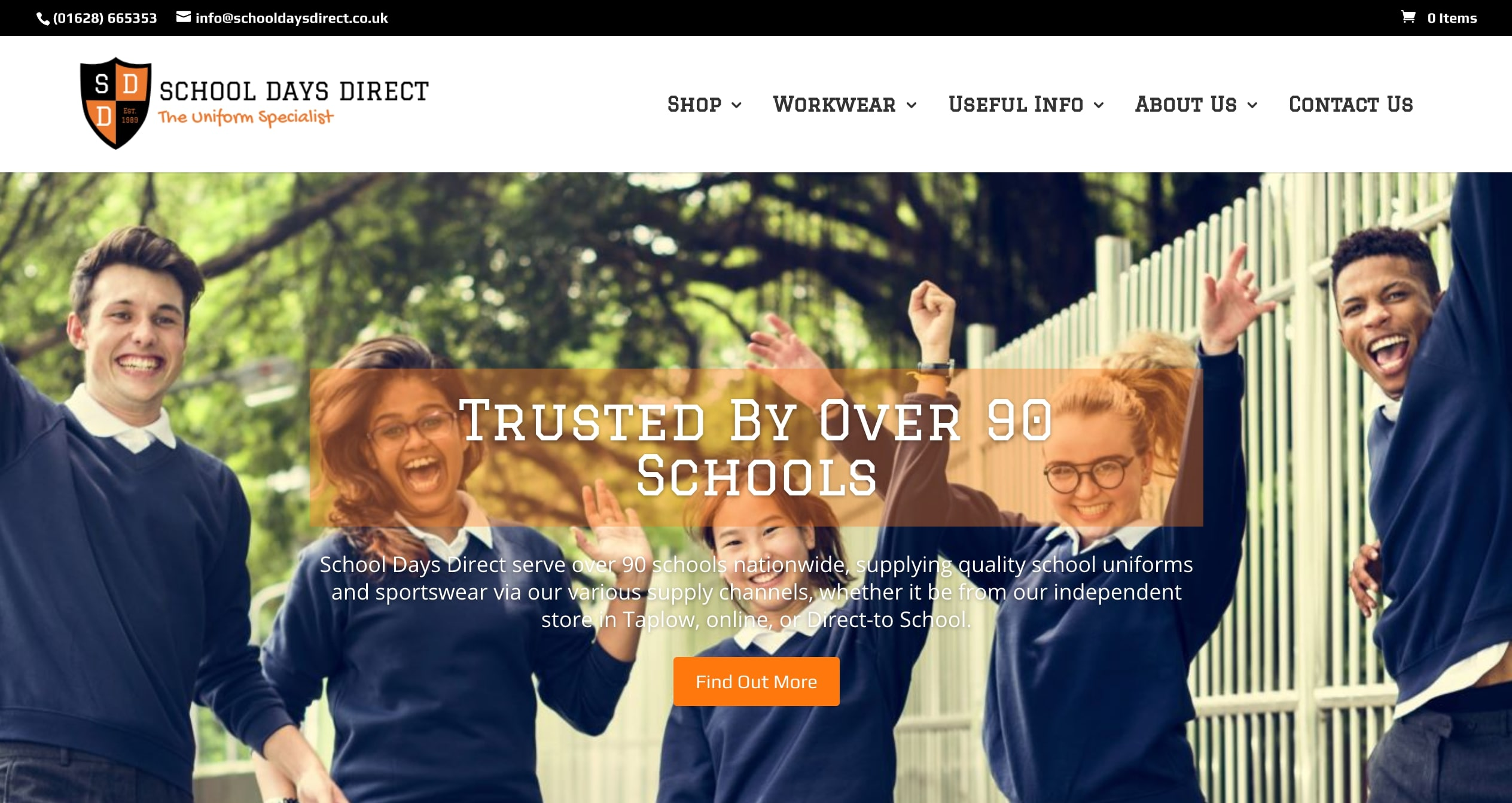 Home Page of refreshed brand School Days Direct eCommerce Site