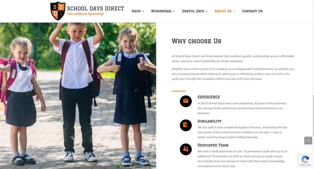 A page from School Days Direct WordPress site with WooCommerce Plugin